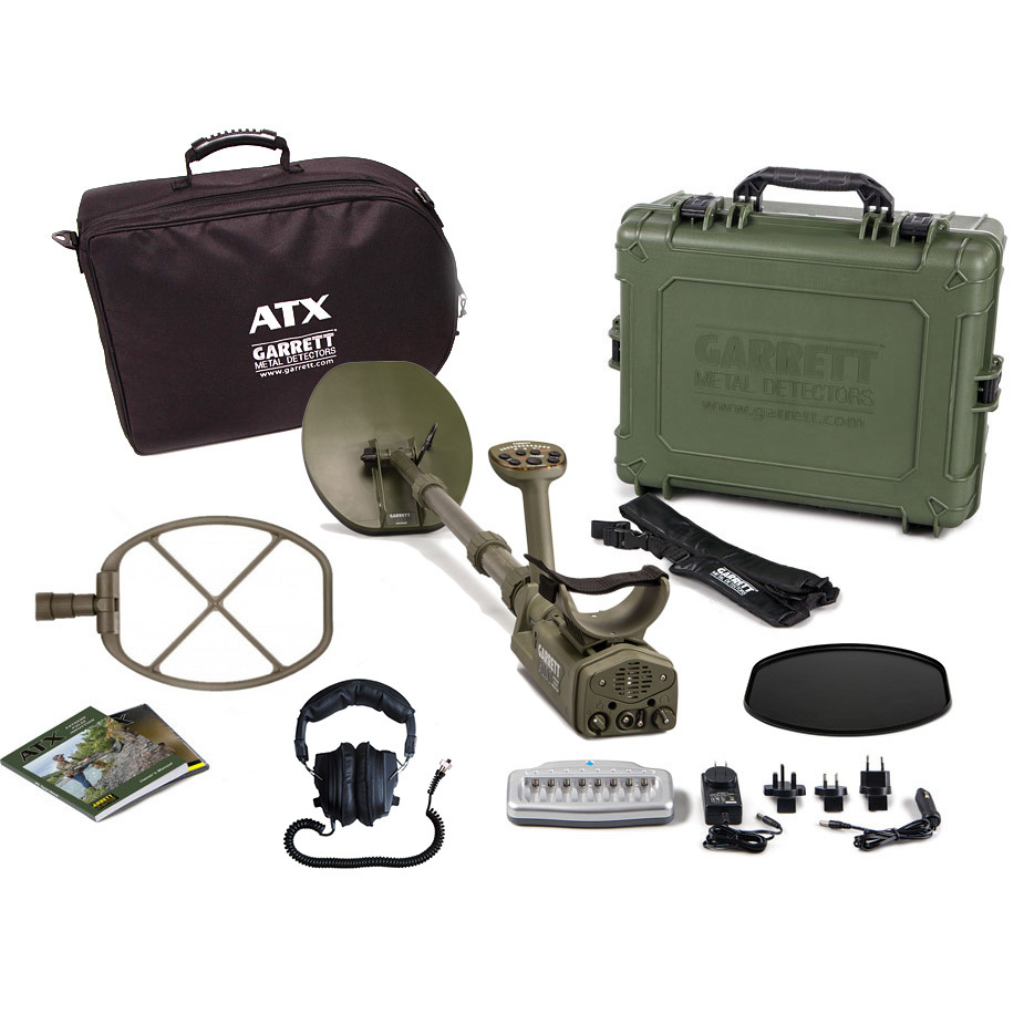Garrett ATX PI deep seeker metal detector package.