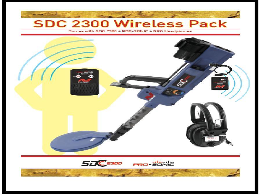 Minelab SDC 2300 PI metal detector+wireless PRO-SONIC + RPG Head